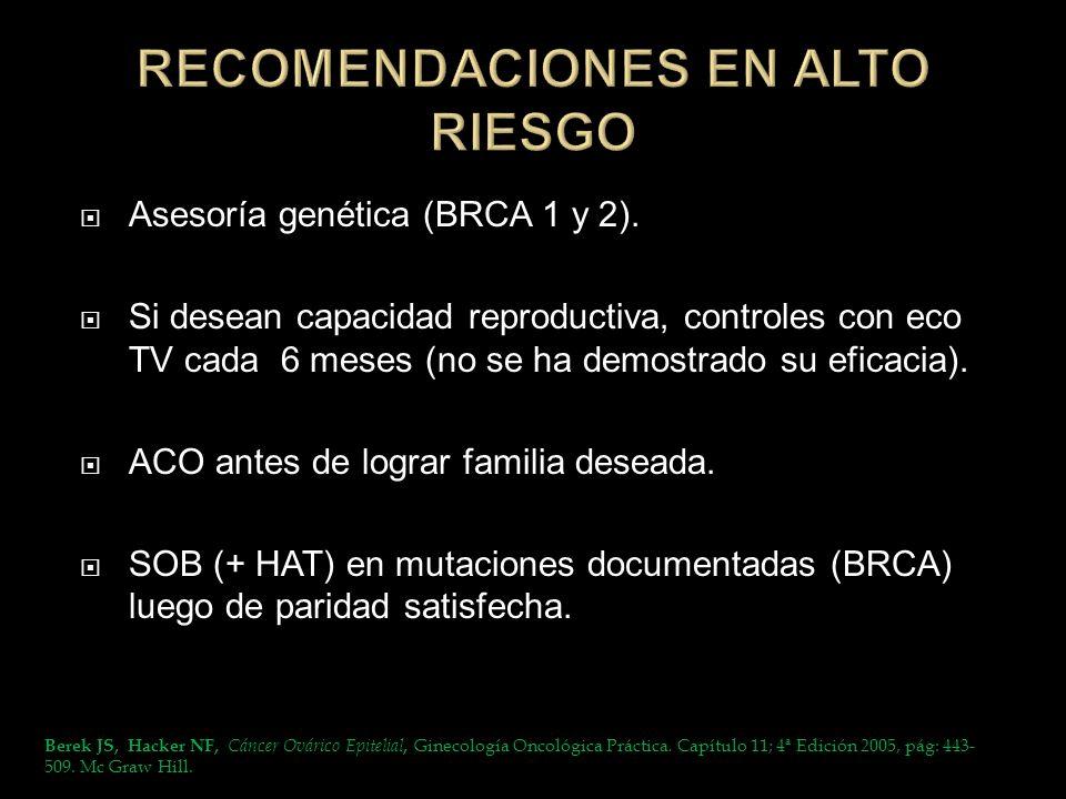 RECOMENDACIONES EN ALTO RIESGO