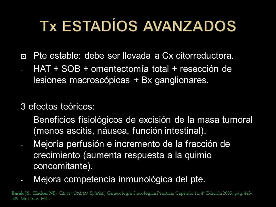 Tx ESTADÍOS AVANZADOS Pte estable: debe ser llevada a Cx citorreductora.