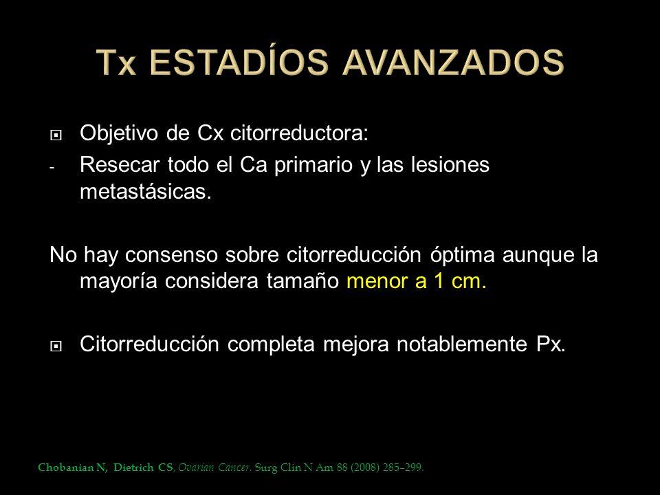 Tx ESTADÍOS AVANZADOS Objetivo de Cx citorreductora: