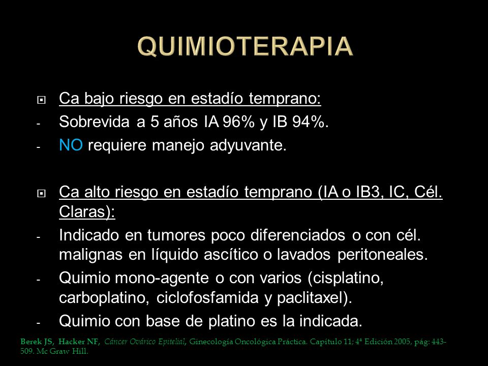 QUIMIOTERAPIA Ca bajo riesgo en estadío temprano: