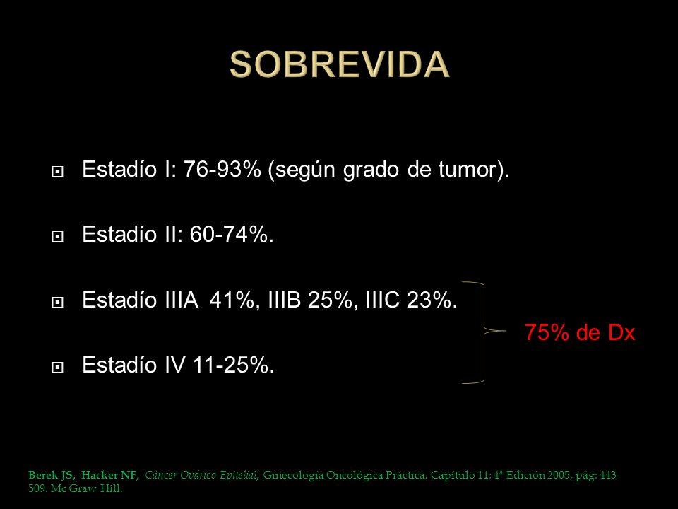 SOBREVIDA Estadío I: 76-93% (según grado de tumor).