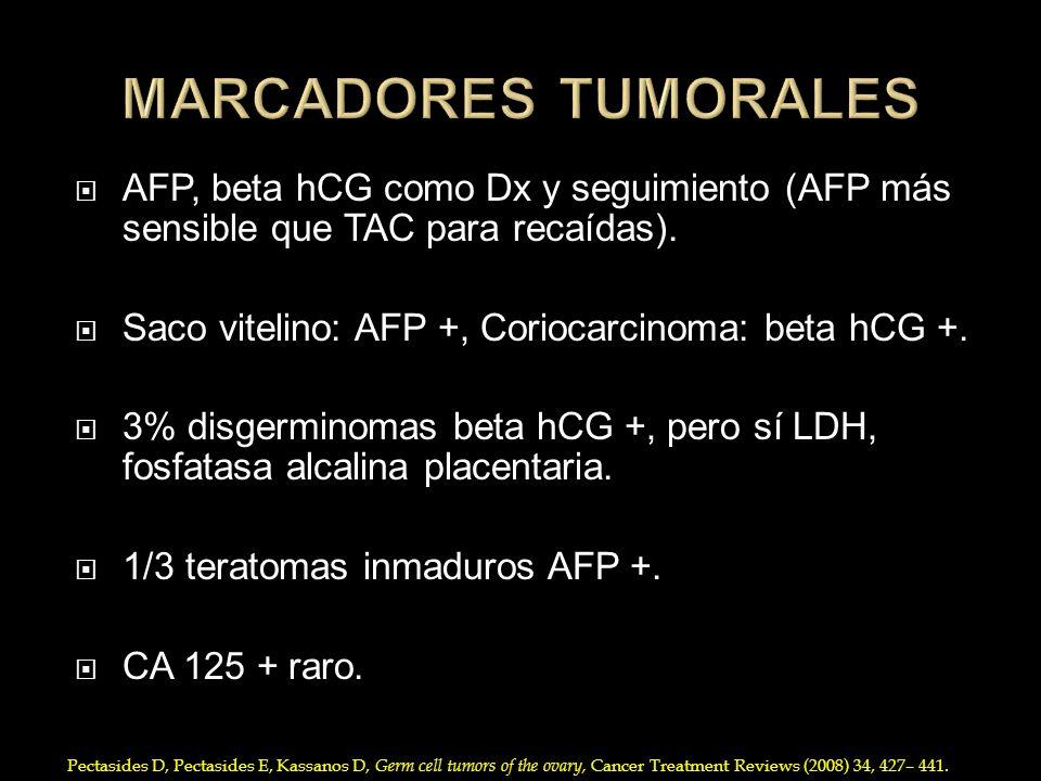 MARCADORES TUMORALES AFP, beta hCG como Dx y seguimiento (AFP más sensible que TAC para recaídas). Saco vitelino: AFP +, Coriocarcinoma: beta hCG +.