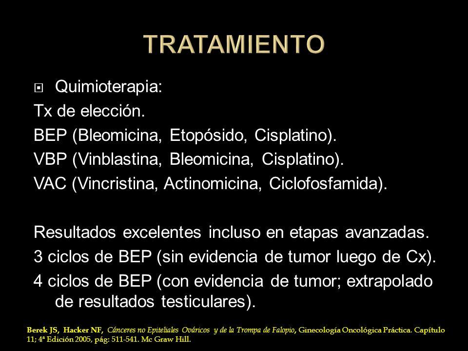 TRATAMIENTO Quimioterapia: Tx de elección.