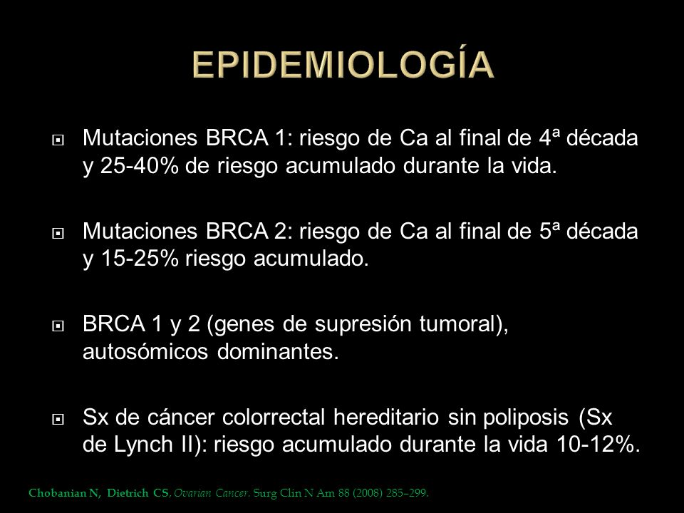 EPIDEMIOLOGÍAMutaciones BRCA 1: riesgo de Ca al final de 4ª década y 25-40% de riesgo acumulado durante la vida.