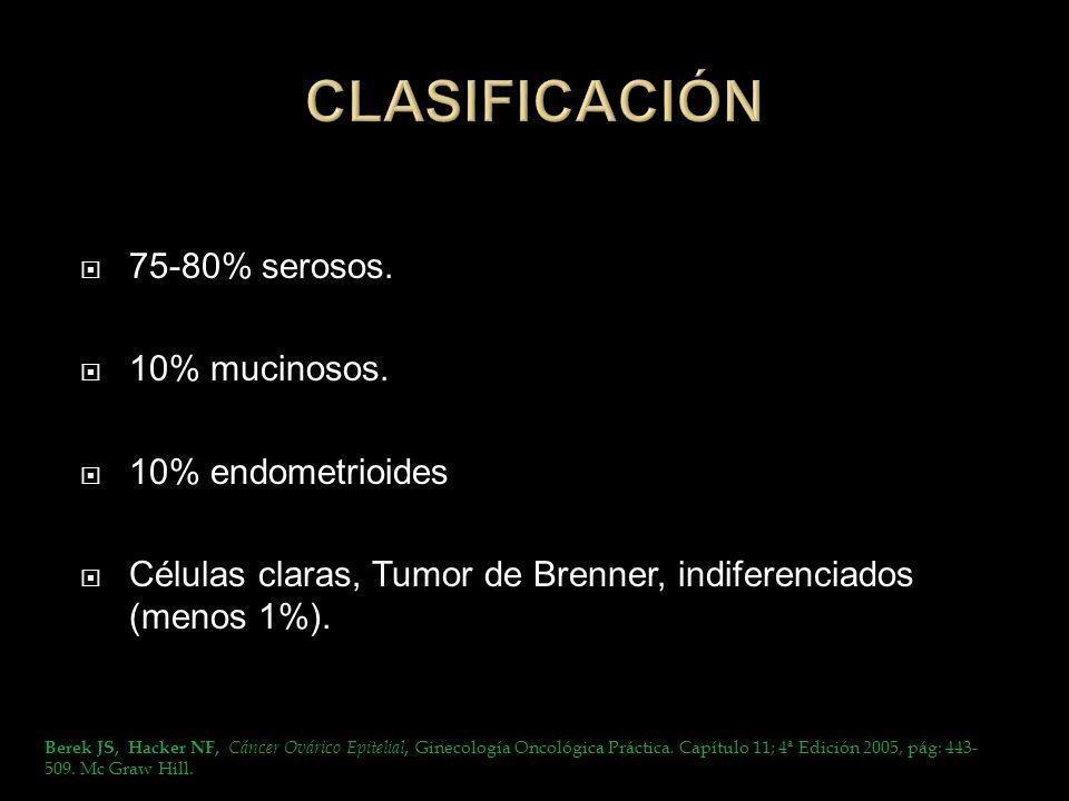 CLASIFICACIÓN 75-80% serosos. 10% mucinosos. 10% endometrioides