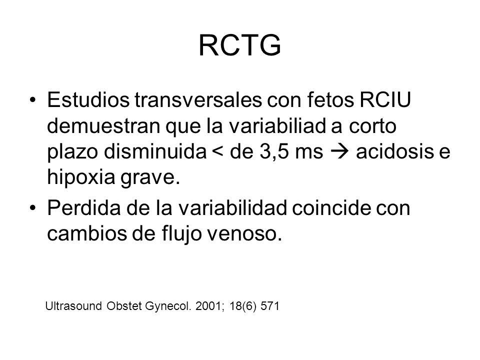 RCTGEstudios transversales con fetos RCIU demuestran que la variabiliad a corto plazo disminuida < de 3,5 ms  acidosis e hipoxia grave.