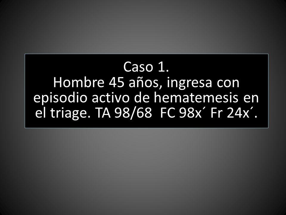 Caso 1. Hombre 45 años, ingresa con episodio activo de hematemesis en el triage.