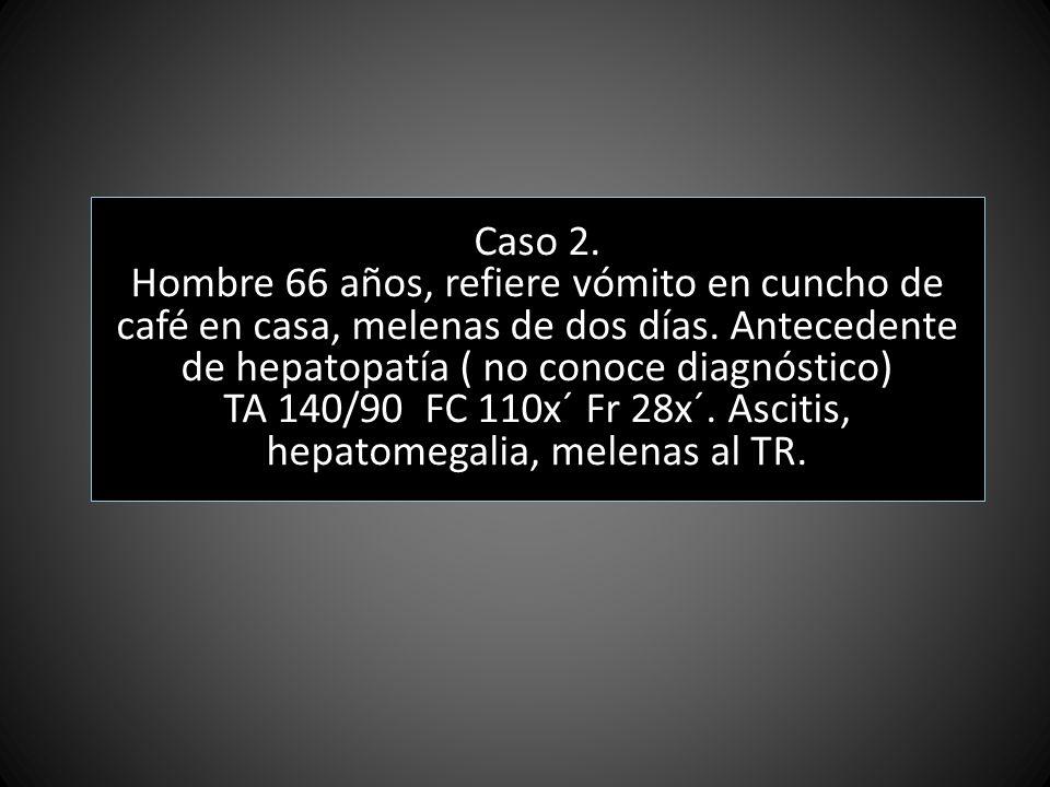 TA 140/90 FC 110x´ Fr 28x´. Ascitis, hepatomegalia, melenas al TR.