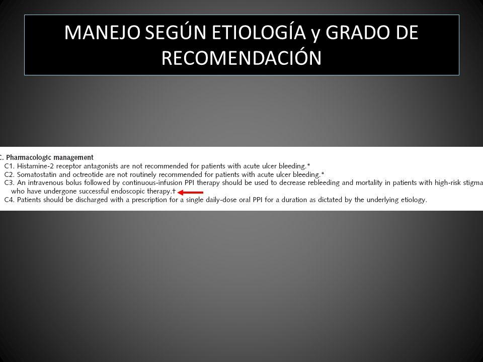 MANEJO SEGÚN ETIOLOGÍA y GRADO DE RECOMENDACIÓN