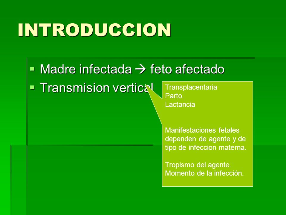 INTRODUCCION Madre infectada  feto afectado Transmision vertical