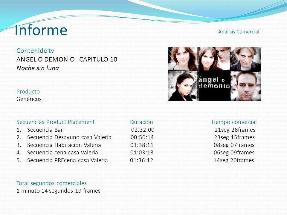 Informe Contenido tv ANGEL O DEMONIO CAPITULO 10 Noche sin luna