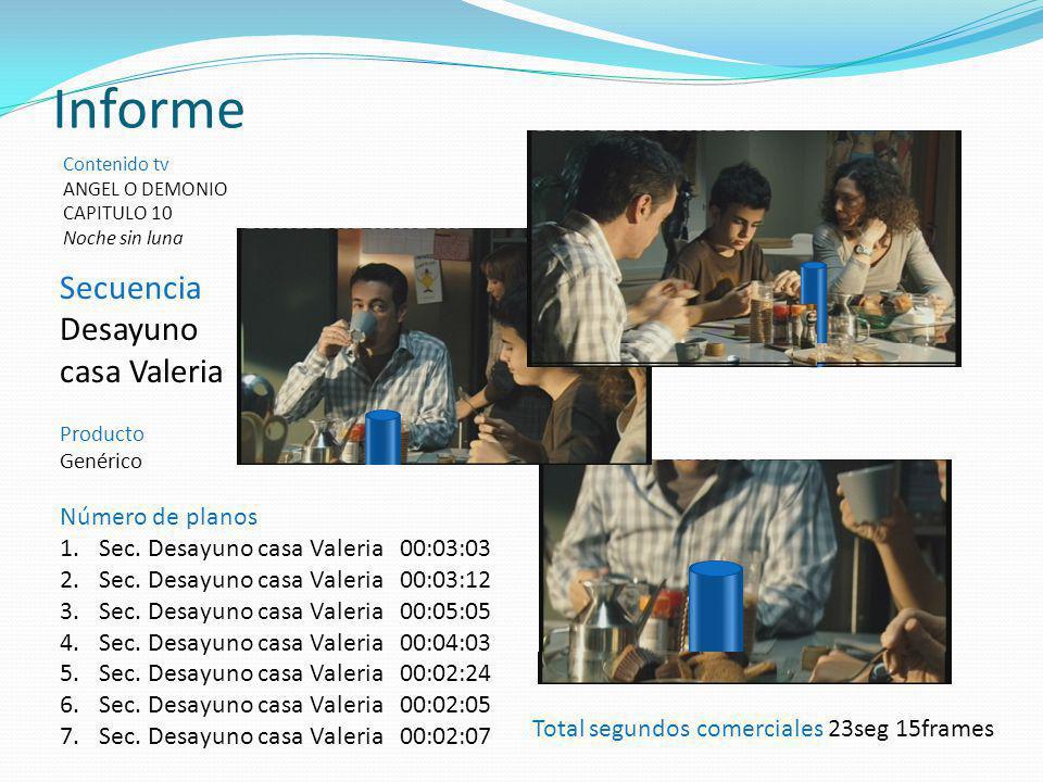 Informe Secuencia Desayuno casa Valeria Número de planos