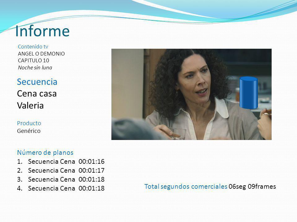 Informe Secuencia Cena casa Valeria Número de planos