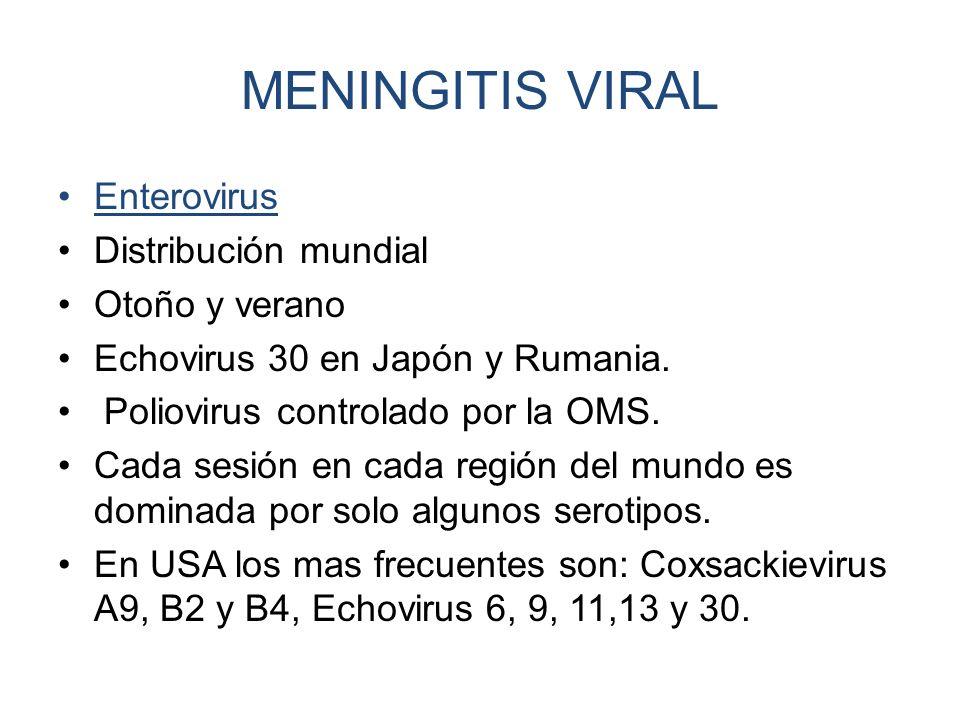 MENINGITIS VIRAL Enterovirus Distribución mundial Otoño y verano