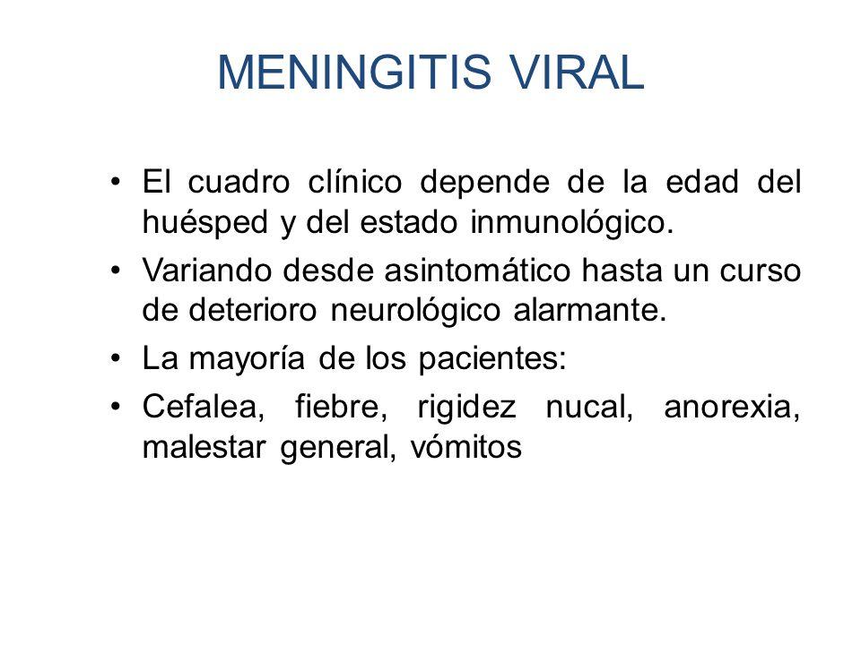 MENINGITIS VIRAL El cuadro clínico depende de la edad del huésped y del estado inmunológico.