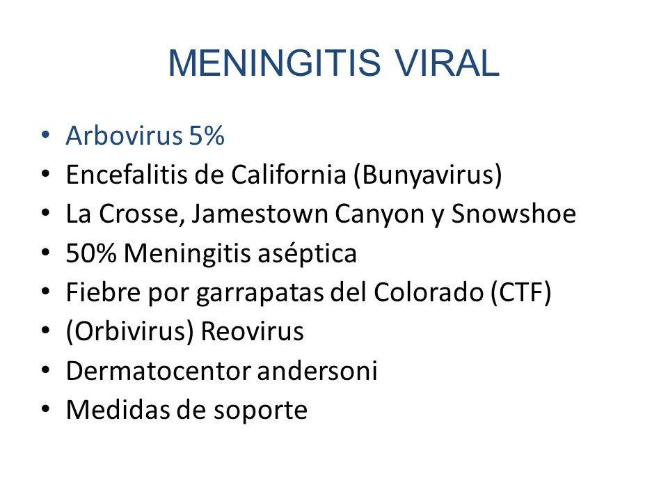 MENINGITIS VIRAL Arbovirus 5% Encefalitis de California (Bunyavirus)