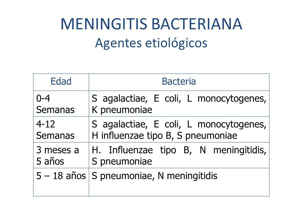 MENINGITIS BACTERIANA Agentes etiológicos
