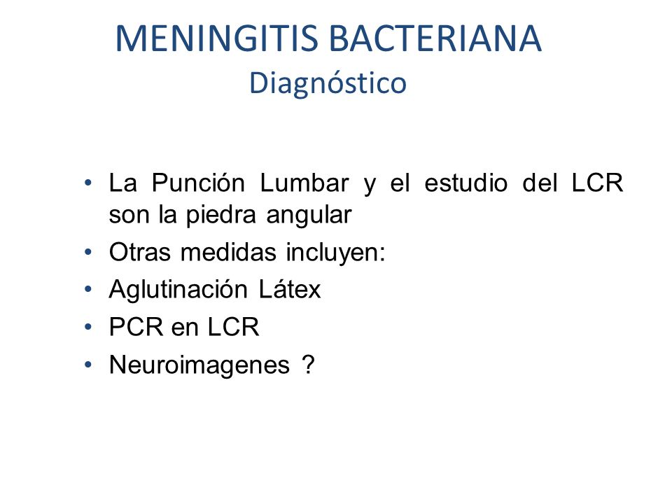 MENINGITIS BACTERIANA Diagnóstico