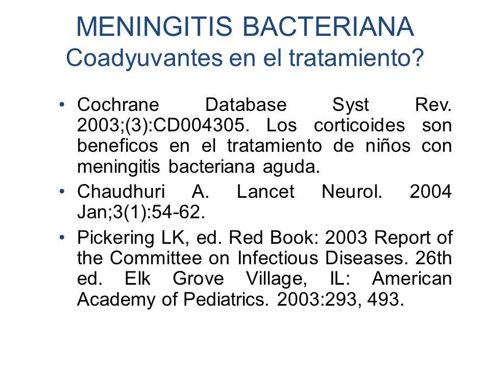 MENINGITIS BACTERIANA Coadyuvantes en el tratamiento