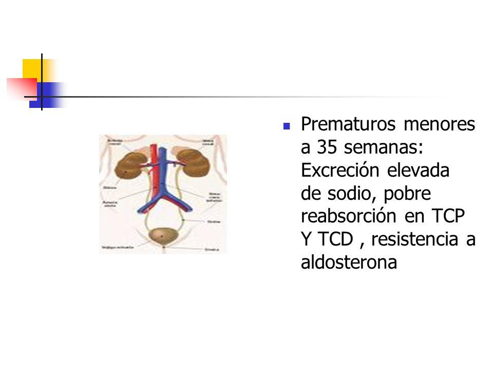 Prematuros menores a 35 semanas: Excreción elevada de sodio, pobre reabsorción en TCP Y TCD , resistencia a aldosterona