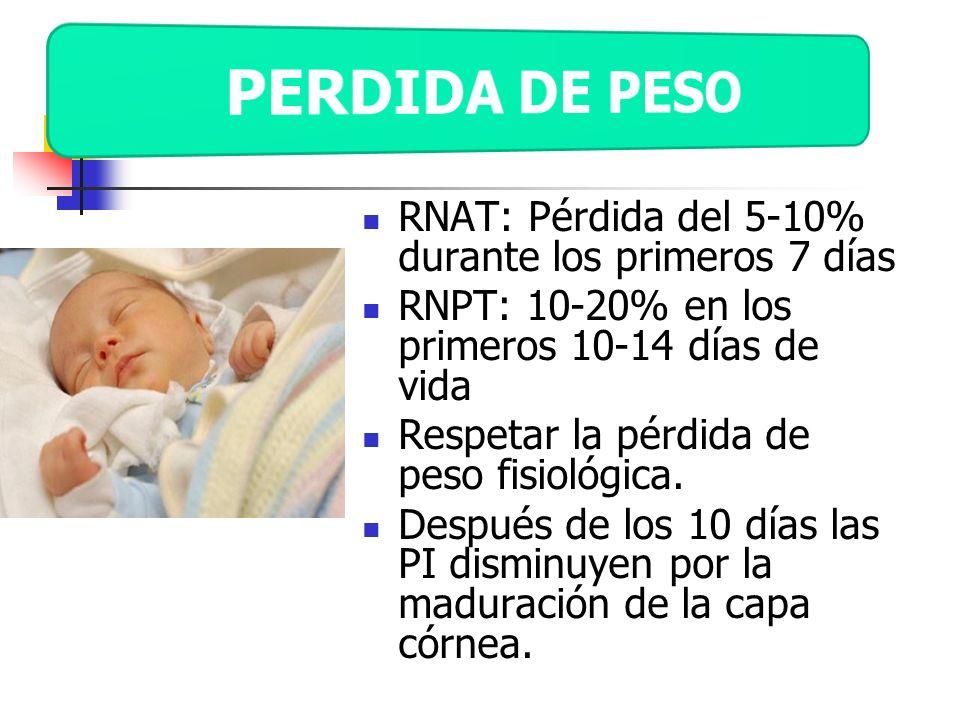 PERDIDA DE PESO RNAT: Pérdida del 5-10% durante los primeros 7 días