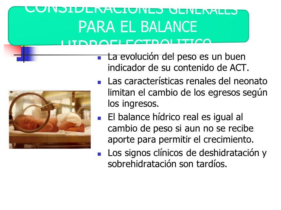 CONSIDERACIONES GENERALES PARA EL BALANCE HIDROELECTROLITICO