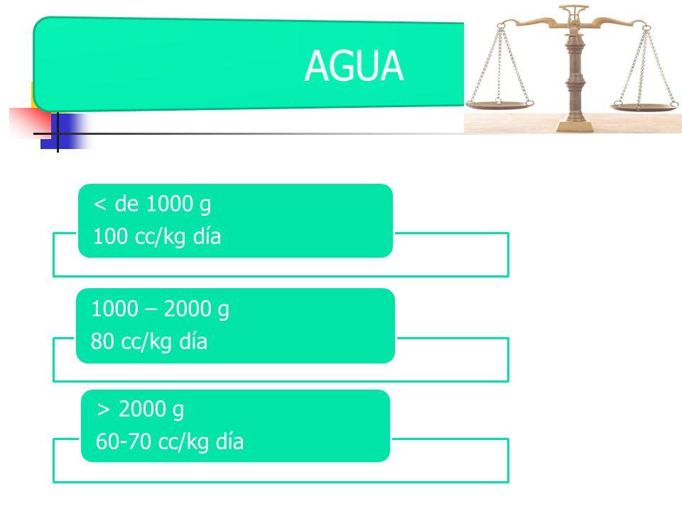 AGUA 100 cc/kg día < de 1000 g 80 cc/kg día 1000 – 2000 g