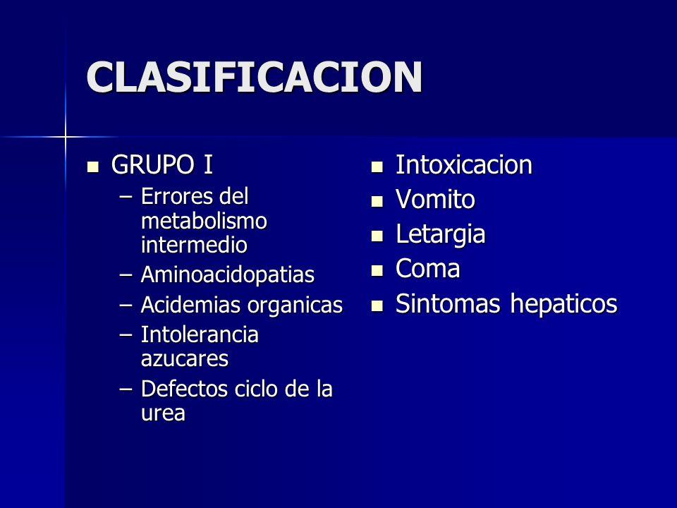 CLASIFICACION GRUPO I Intoxicacion Vomito Letargia Coma