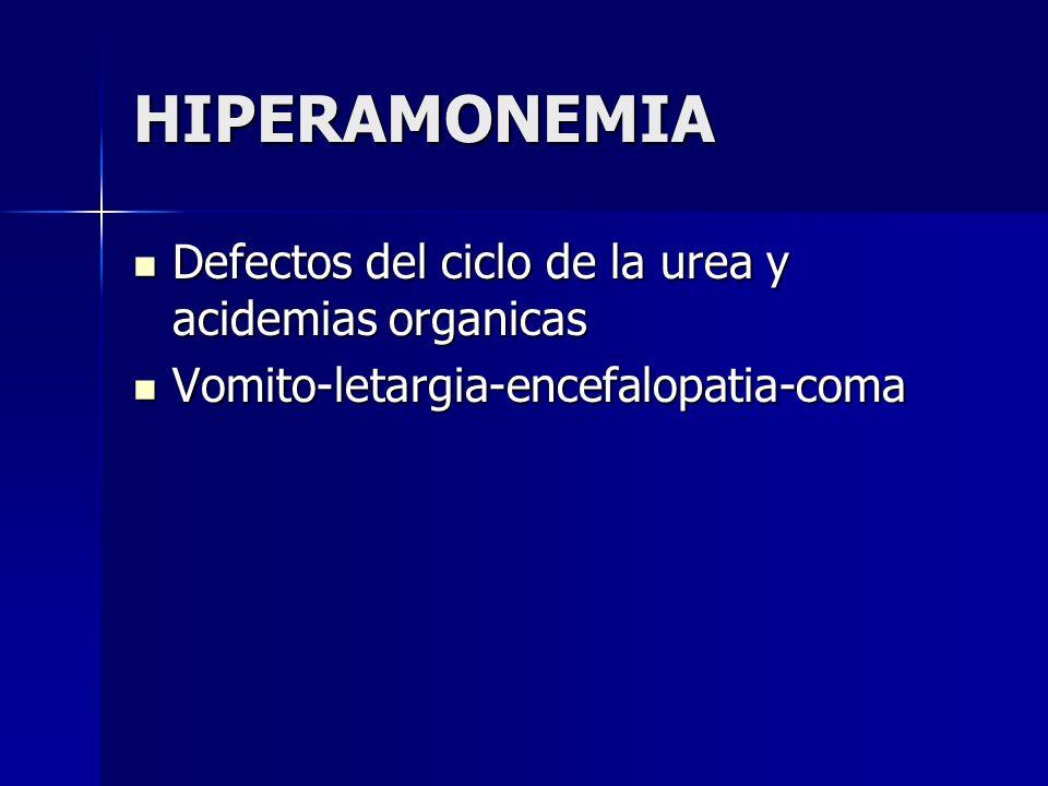 HIPERAMONEMIA Defectos del ciclo de la urea y acidemias organicas