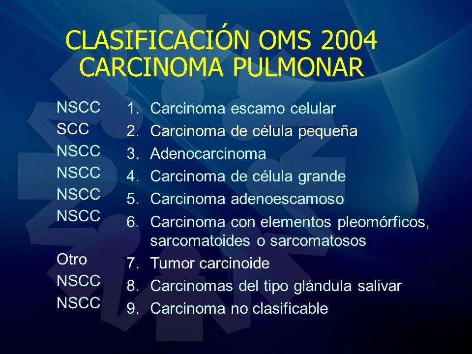 CLASIFICACIÓN OMS 2004 CARCINOMA PULMONAR