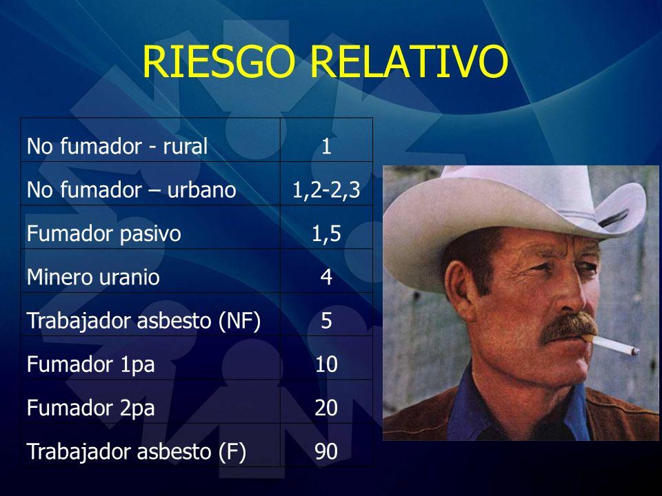 RIESGO RELATIVO No fumador - rural 1 No fumador – urbano 1,2-2,3