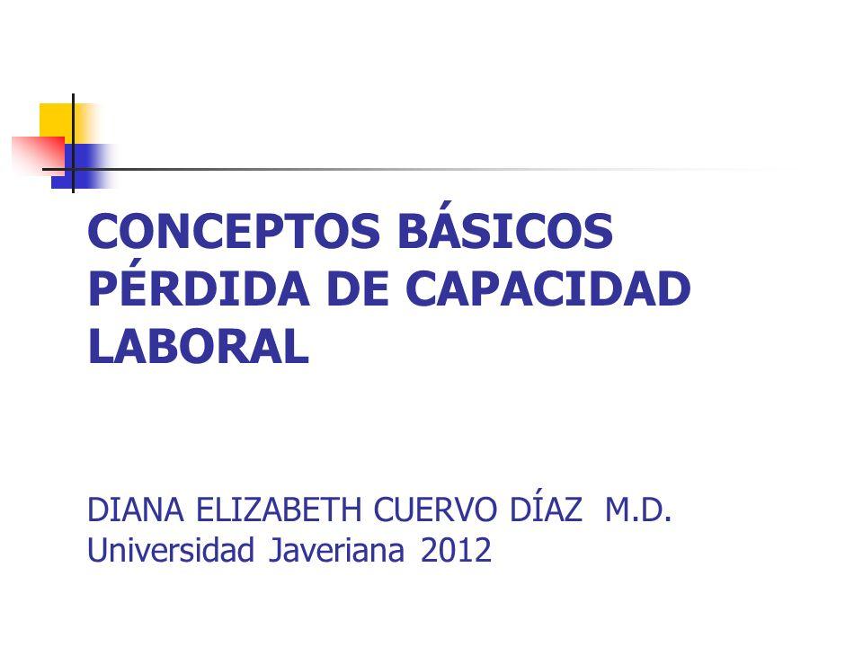 CONCEPTOS BÁSICOS PÉRDIDA DE CAPACIDAD LABORAL DIANA ELIZABETH CUERVO DÍAZ M.D.