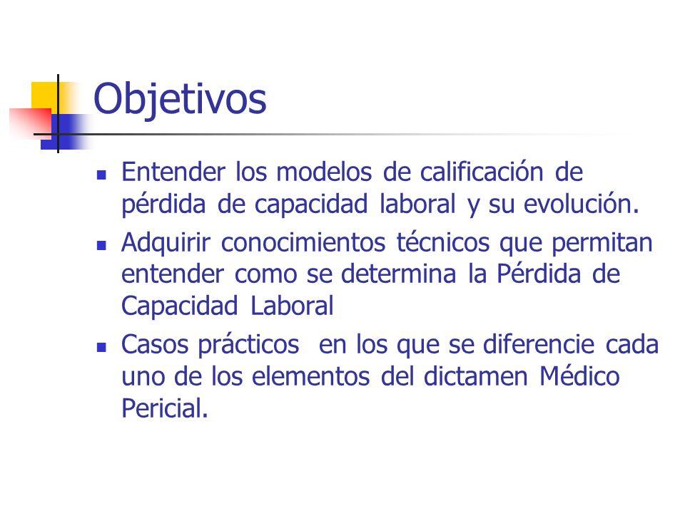 ObjetivosEntender los modelos de calificación de pérdida de capacidad laboral y su evolución.