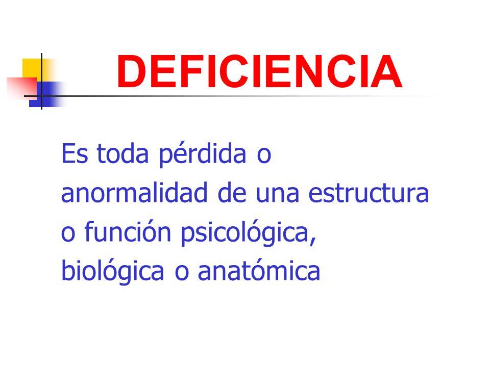 DEFICIENCIA Es toda pérdida o anormalidad de una estructura