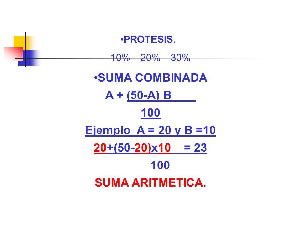 SUMA COMBINADA A + (50-A) B 100 Ejemplo A = 20 y B =10