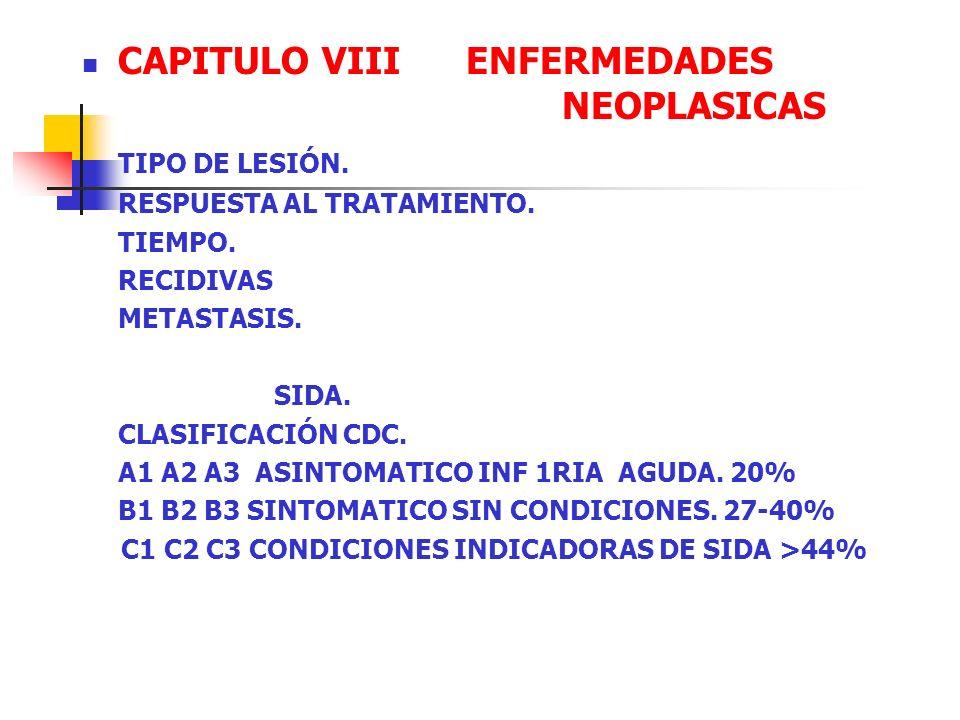 CAPITULO VIII ENFERMEDADES NEOPLASICAS TIPO DE LESIÓN.