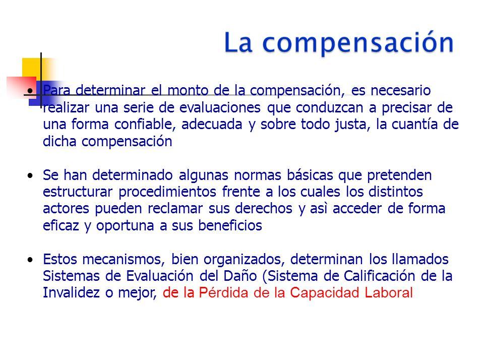 Para determinar el monto de la compensación, es necesario realizar una serie de evaluaciones que conduzcan a precisar de una forma confiable, adecuada y sobre todo justa, la cuantía de dicha compensación