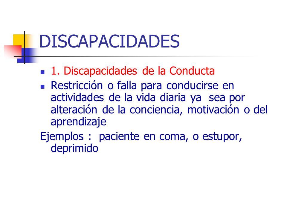 DISCAPACIDADES 1. Discapacidades de la Conducta