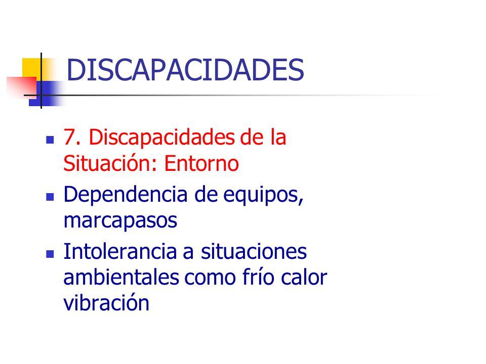 DISCAPACIDADES 7. Discapacidades de la Situación: Entorno