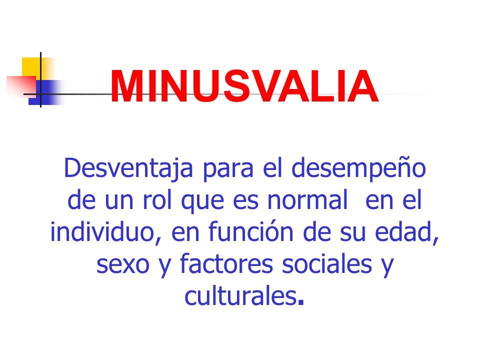 MINUSVALIA Desventaja para el desempeño de un rol que es normal en el individuo, en función de su edad, sexo y factores sociales y culturales.