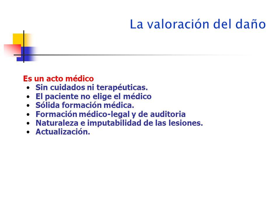 Es un acto médico Sin cuidados ni terapéuticas. El paciente no elige el médico. Sólida formación médica.