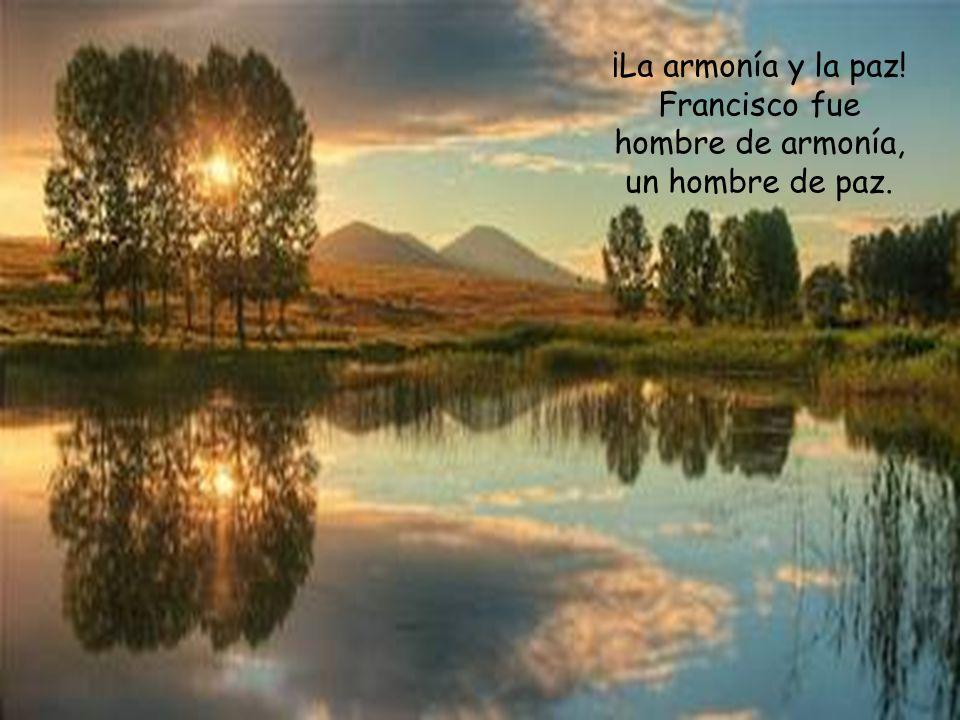 ¡La armonía y la paz! Francisco fue hombre de armonía, un hombre de paz.