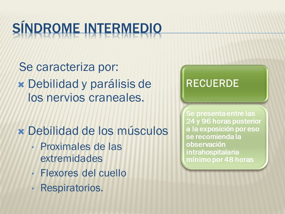 Síndrome Intermedio Se caracteriza por:
