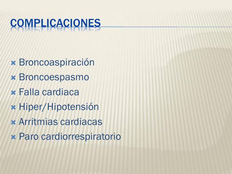 COMPLICACIONES Broncoaspiración Broncoespasmo Falla cardiaca