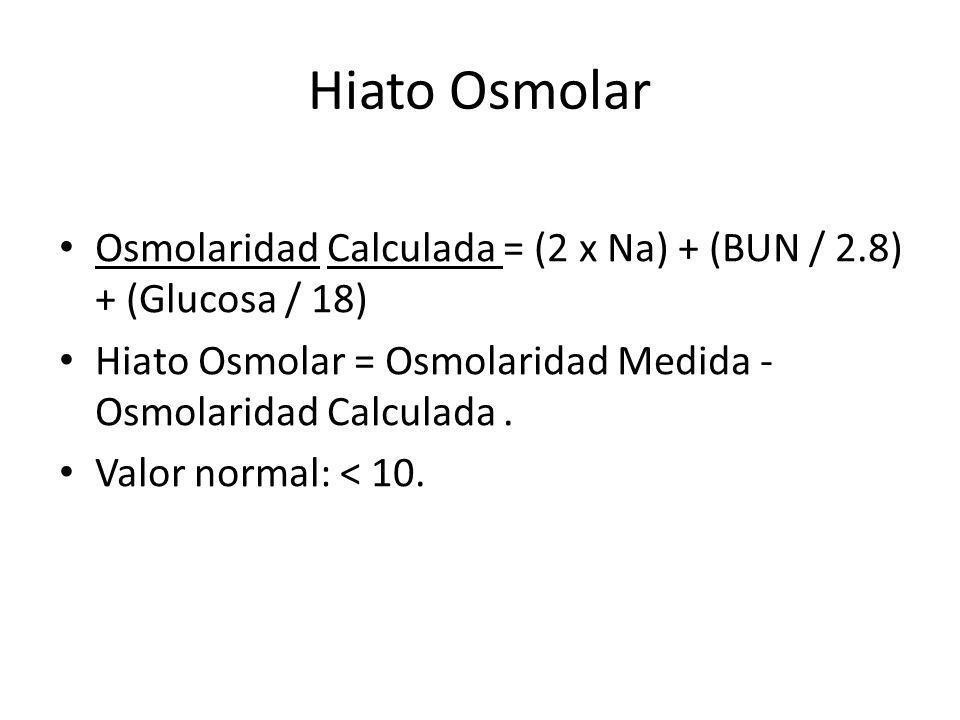 Hiato Osmolar Osmolaridad Calculada = (2 x Na) + (BUN / 2.8) + (Glucosa / 18) Hiato Osmolar = Osmolaridad Medida - Osmolaridad Calculada .