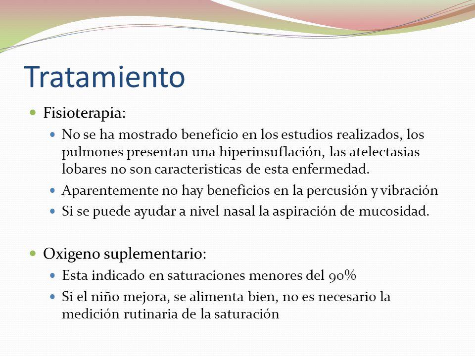 Tratamiento Fisioterapia: Oxigeno suplementario: