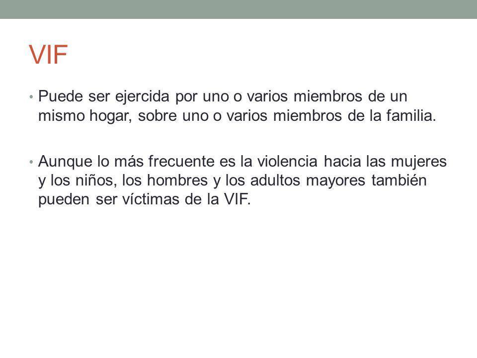 VIF Puede ser ejercida por uno o varios miembros de un mismo hogar, sobre uno o varios miembros de la familia.