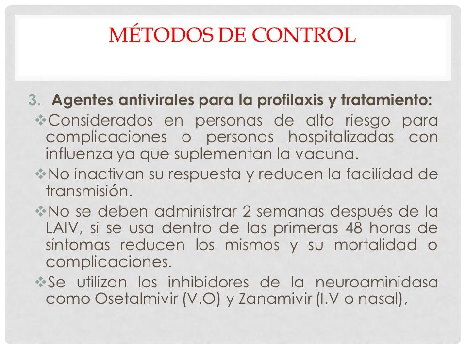 Métodos de control Agentes antivirales para la profilaxis y tratamiento: