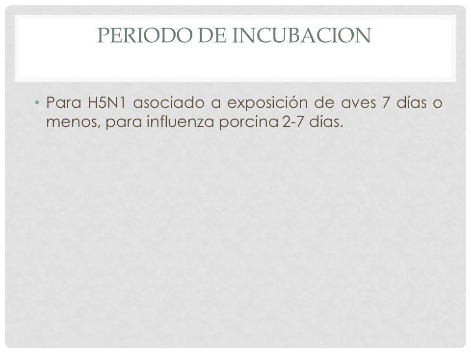 PERIODO DE INCUBACION Para H5N1 asociado a exposición de aves 7 días o menos, para influenza porcina 2-7 días.
