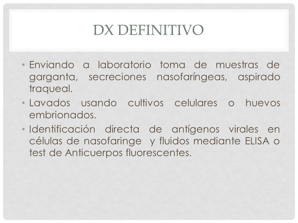 DX definitivo Enviando a laboratorio toma de muestras de garganta, secreciones nasofaríngeas, aspirado traqueal.